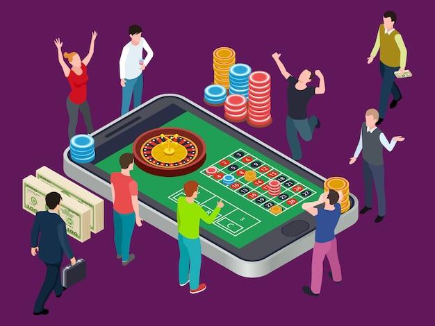 Mesa de ruleta en línea y personas. concepto isométrico del casino