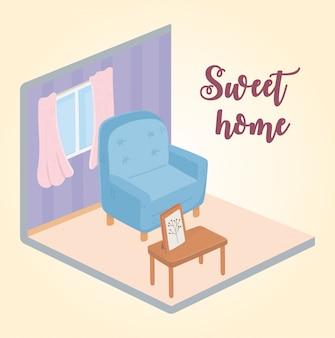 Mesa de sillón sweet home con diseño isométrico de ventana de marco de imagen