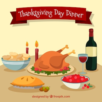 Mesa de thanksgiving en estilo plano