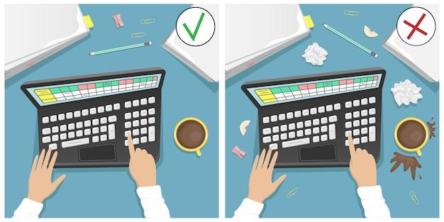Mesa de trabajo con laptop, un montón de papeles y una taza de café. comparación de un escritorio sucio y uno limpio. ilustración de dibujos animados.