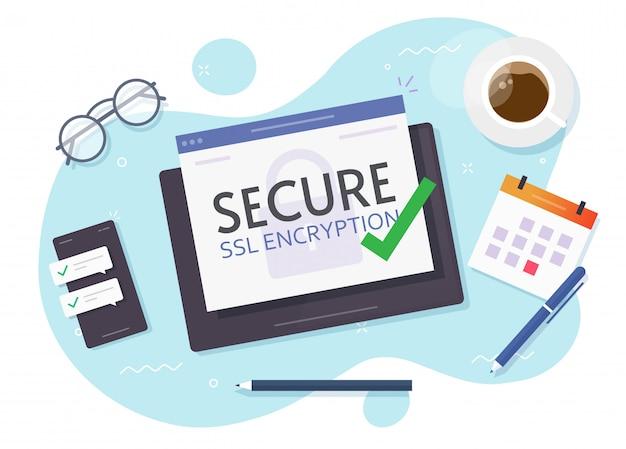 Mesa de trabajo con tableta digital y plano de vector de lugar de trabajo cifrado seguro ssl
