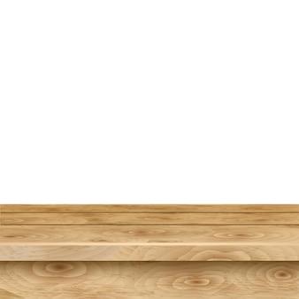 Mesa vacía de tablones de madera de color marrón claro sobre fondo blanco.