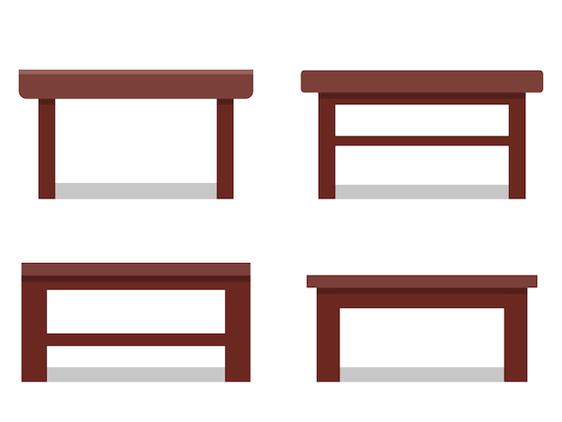 Mesas de centro en piso. icono. muebles para salón de dibujos animados.
