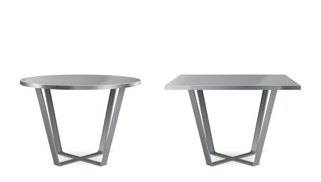 Mesas modernas de metal con tapa redonda y cuadrada.