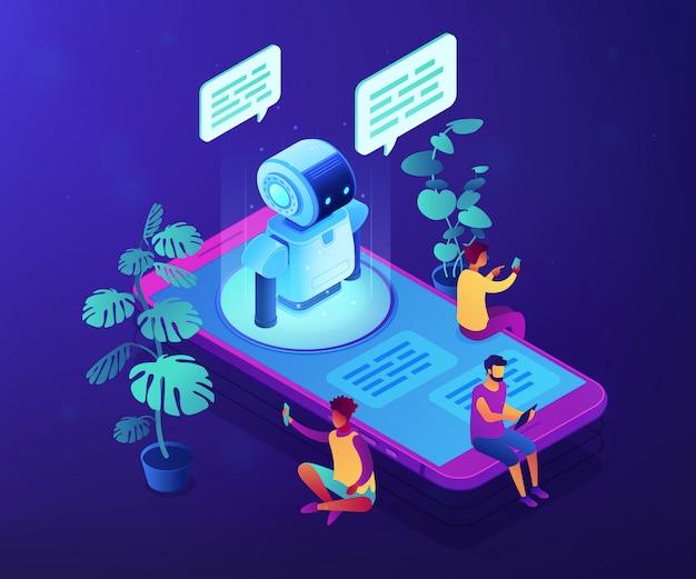 Messenger chatbot concepto ilustración isométrica.