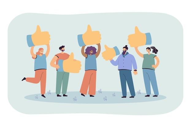 Metáfora de dibujos animados de la revisión del cliente, comentarios de calidad. ilustración plana.