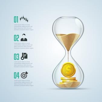Metáfora empresarial: el tiempo es dinero, gráfico de reloj de arena con monedas de oro en el interior