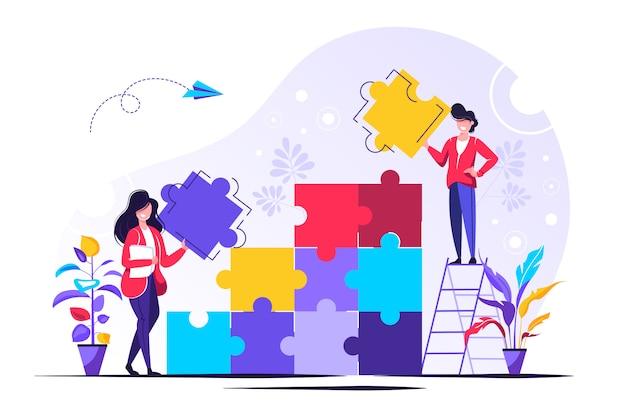 Metáfora del equipo. personas conectando elementos de rompecabezas