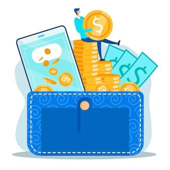 Metáfora de gestión de dinero de transacciones financieras