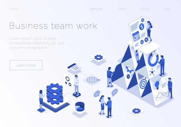 Metáfora de negocios trabajo en equipo página isométrica de aterrizaje