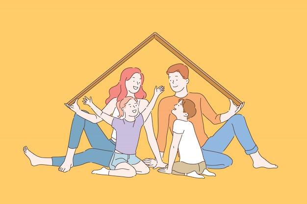 Metáfora del seguro del hogar, concepto de recuerdos de infancia feliz