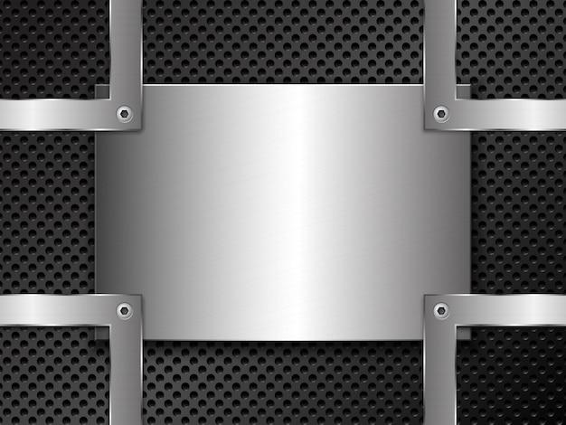 Metal con punzonado y chapa de acero pulida sujeta con tornillos.