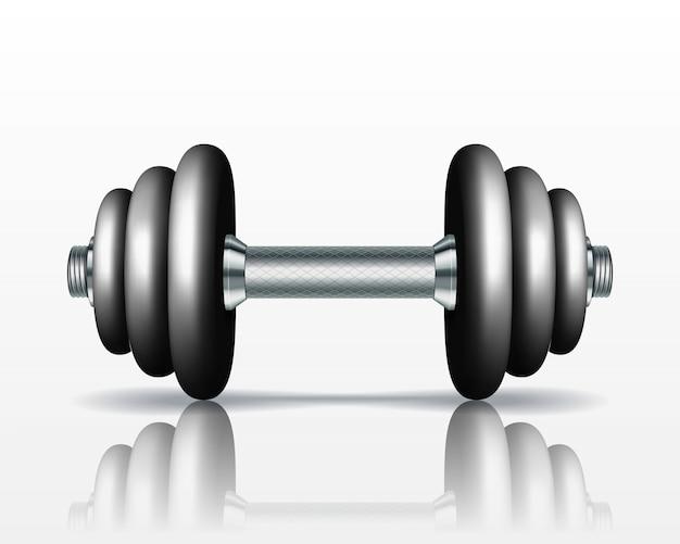 Metal realista pesa sobre fondo blanco. ilustración realista
