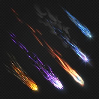 Meteoros cometas y bolas de fuego con fuego aislado conjunto conjunto.