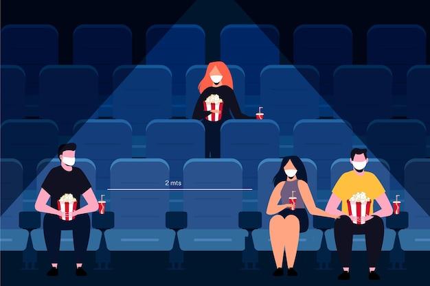 Método de distanciamiento y prevención social en cines.