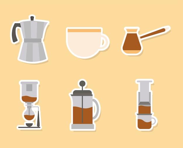 Métodos de café en diseño de fondo amarillo de tema de desayuno y bebida con cafeína