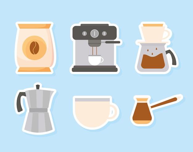 Métodos de café en diseño de fondo azul de bebida con cafeína, desayuno y tema de bebidas