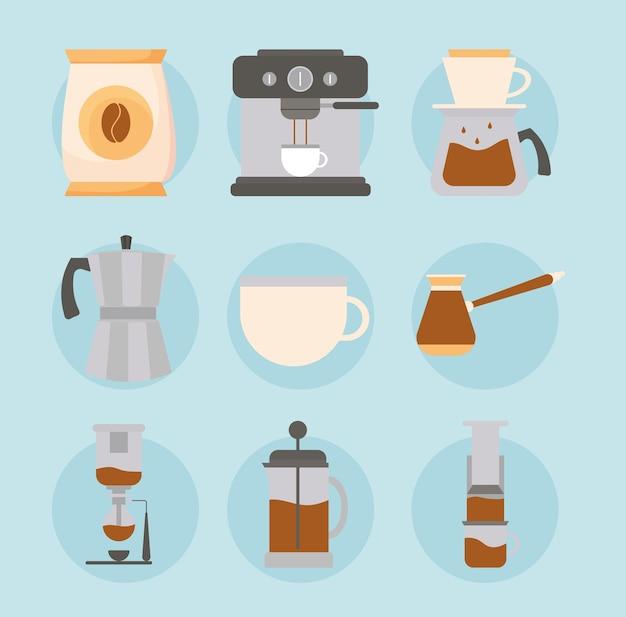Métodos de café en diseño de fondo azul de cafeína de bebida
