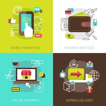 Métodos de marketing de compras en línea y opciones de pago seguro 4 iconos planos