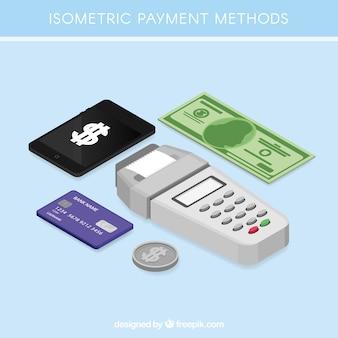 Métodos de pago con estilo isométrico