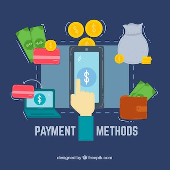 Métodos de pago modernos con diseño plano