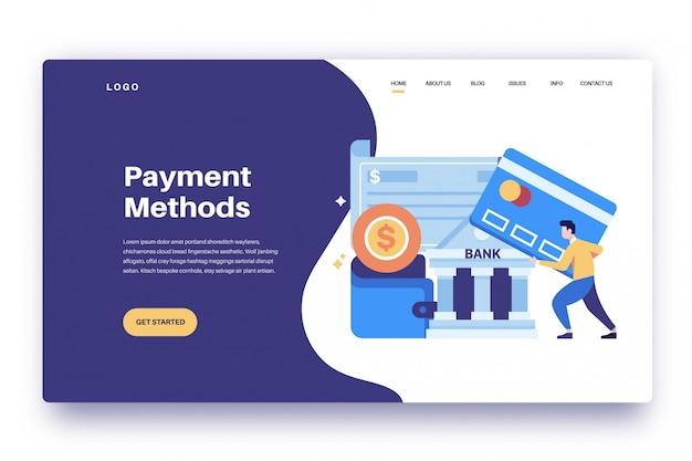 Métodos de pago de la página de destino