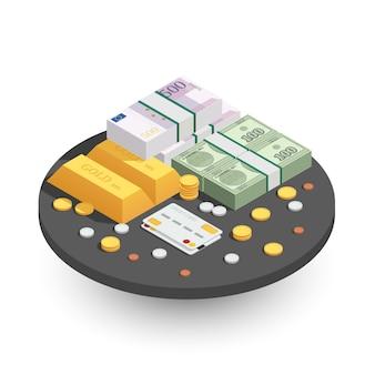 Métodos de pago ronda composición isométrica