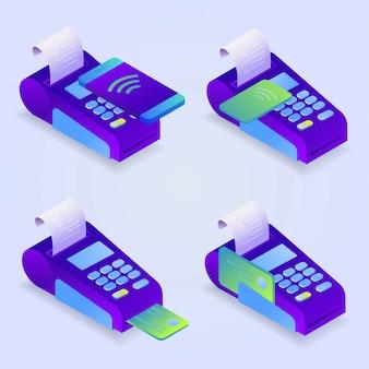 Métodos de pago de terminal pos, pago en línea. confirma el pago con tarjeta de crédito, teléfono móvil. isométrica