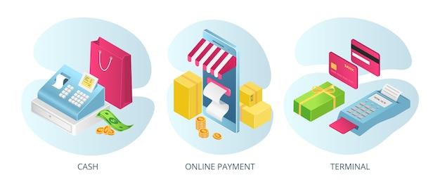 Métodos de pago, terminales de efectivo en línea, conjuntos de