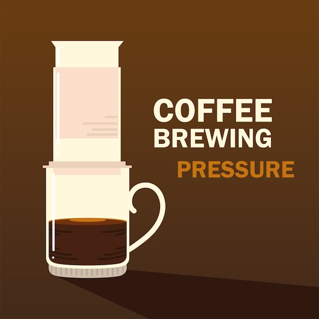 Métodos de preparación de café, bebida caliente a presión, fondo oscuro