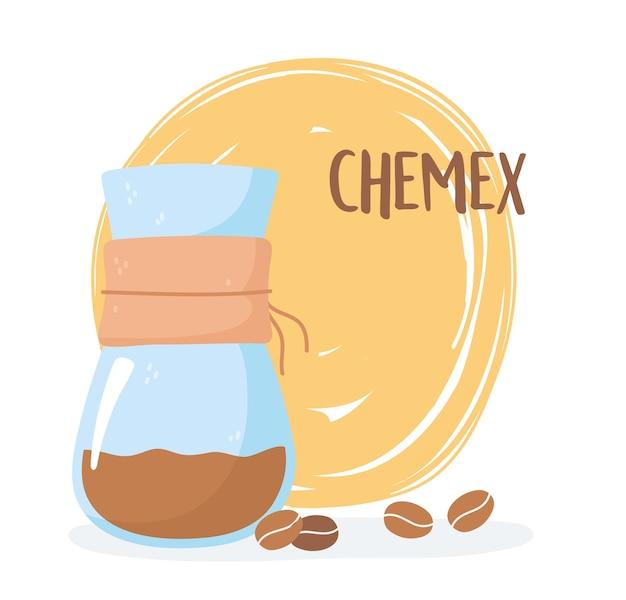 Métodos de preparación de café, café chemex con una ilustración de granos.