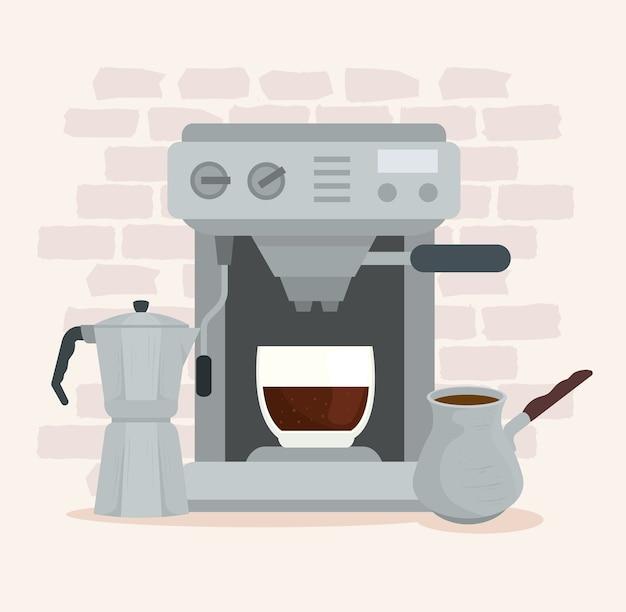 Métodos de preparación de café, cafetera moka con cafetera y diseño de café turco.
