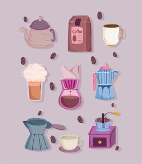 Métodos de preparación de café, molinillo manual, máquina de goteo, paquete de taza de tetera, iconos de olla moka