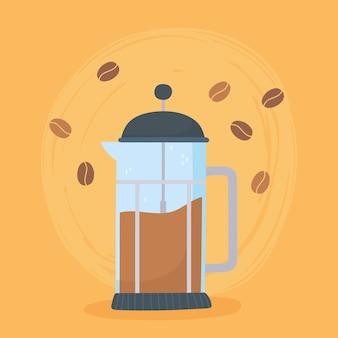 Métodos de preparación de café, prensa francesa con fondo de semillas
