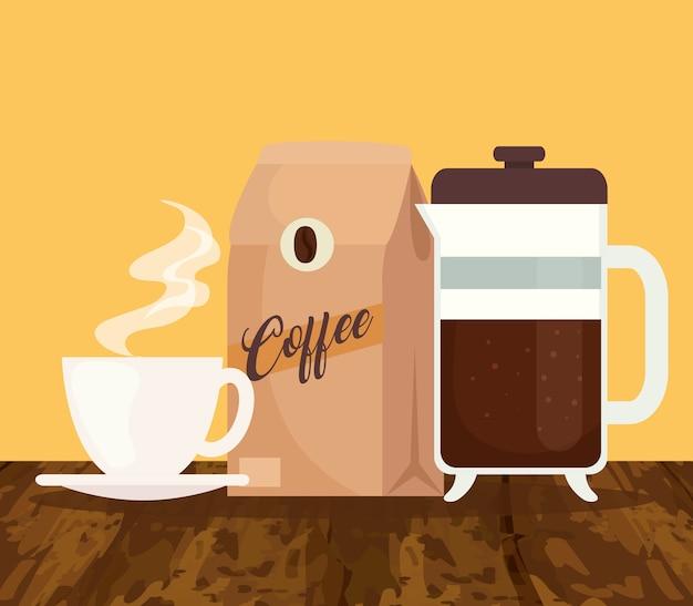 Métodos de preparación de café, taza con bolsa y diseño de tetera.