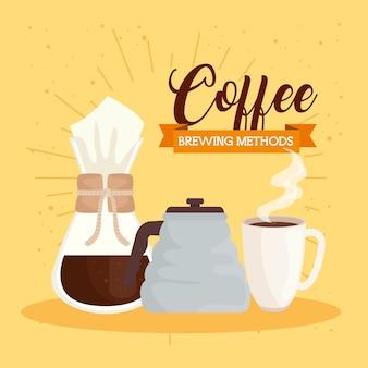 Métodos de preparación de café, tetera, taza de cerámica y diseño chemex.