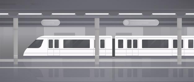 Metro, andén subterráneo con tren moderno. ilustración de vector monocromo horizontal en estilo plano.