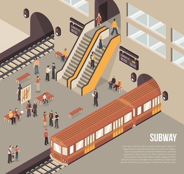 Metro metro isométrico de la estación de metro cartel