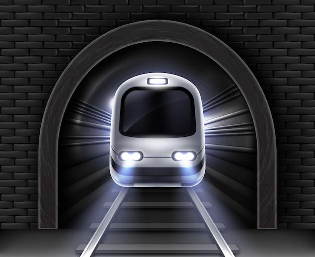 Metro moderno en túnel. ilustración realista del vagón delantero del tren de pasajeros, arco de piedra en la pared de ladrillo y rieles. transporte subterráneo de ferrocarril eléctrico