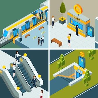 Metro público isométrico, escaleras mecánicas de ferrocarril metro, tren y puertas de metro personas en la estación de tren de baja poli