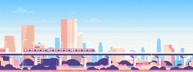 Metro sobre ciudad rascacielos vista paisaje urbano fondo horizonte plano banner