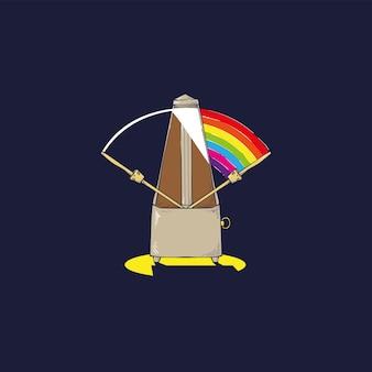 Metrónomo con difracción de onda de luz en una colorida ilustración de espectro