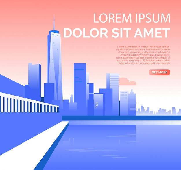 Metrópolis con rascacielos y texto de muestra.