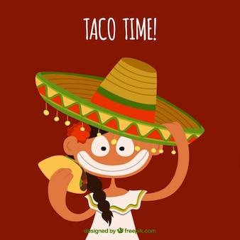Mexicana en estilo cartoon