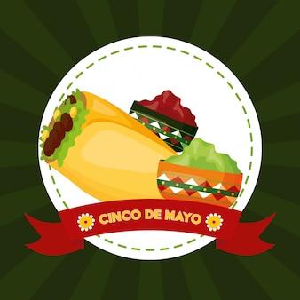 México cinco de mayo comida mexicana y salsas ilustración
