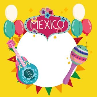 México cultura tradicional guitarra maraca flores globos celebración fiesta ilustración