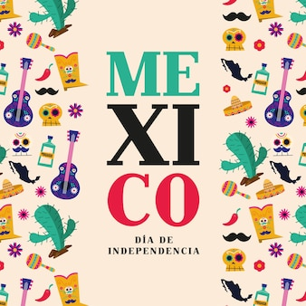 México dia de la independencia con diseño de marco de iconos, tema de cultura ilustración vectorial