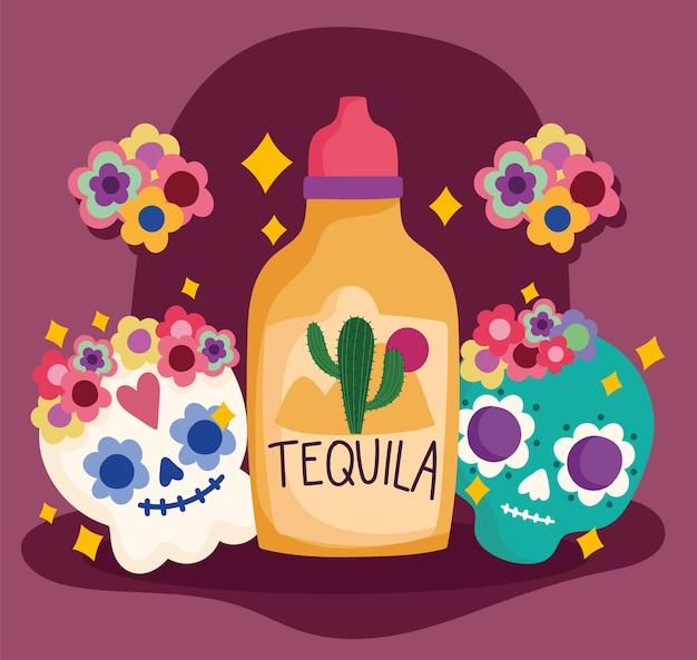 México día de los muertos cráneo tequila flores decoración cultura tradicional ilustración
