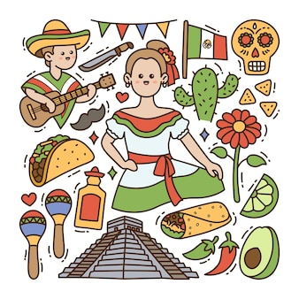 México doodle ilustración fondo aislado