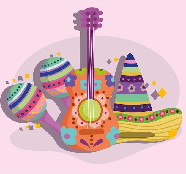 México guitarra maraca y sombrero fiesta cultura tradicional ilustración